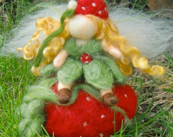 Needle Felted Wool Fairy - Strawberry fairy with giant Strawberry -Waldorf inspired