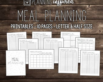 Printable Meal Planner, Meal Planning Printable, Meal Planner Printable, Meal Planning Kit, Editable