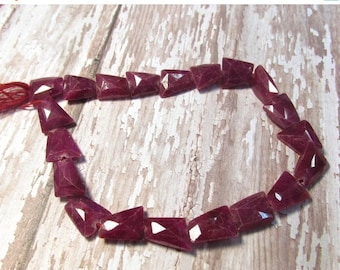 Out Of Town SALE Natural Rose Cut Ruby Beads 12mm 14mm , Fancy Shape Natural Pink Red Gemstone Beads, 10 Inches