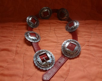 Red Leather w/ Silver Conchos Brighton 1993 Western Belt