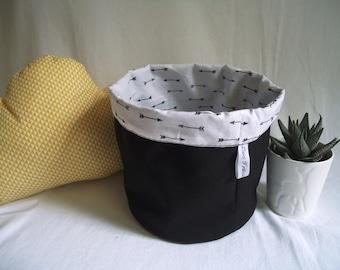Basket, large fabric basket pattern, Indian theme, decorative boho black and white / decor baby room / decor bedroom