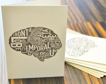 Thinking About You Brain Anatomy Art Letterpress Card Pack by Ork Posters
