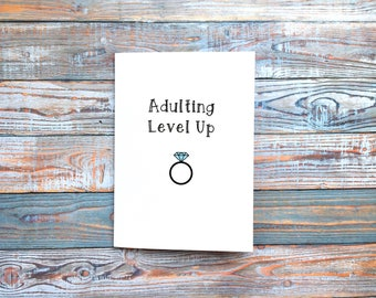 Adulting Level Up Engagement Greetings Card // Wedding Card // Funny Couple Card // Handmade // Alternative Card