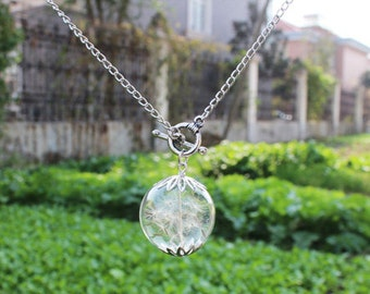 25MM Pure & simple necklace with real dandelion seeds in glass orb ,wishing necklace,dandelion seed necklace