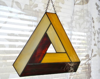 Impossible Geometry Stained Glass Suncatcher, Penrose Triangle in Cream, Tan, and Brown