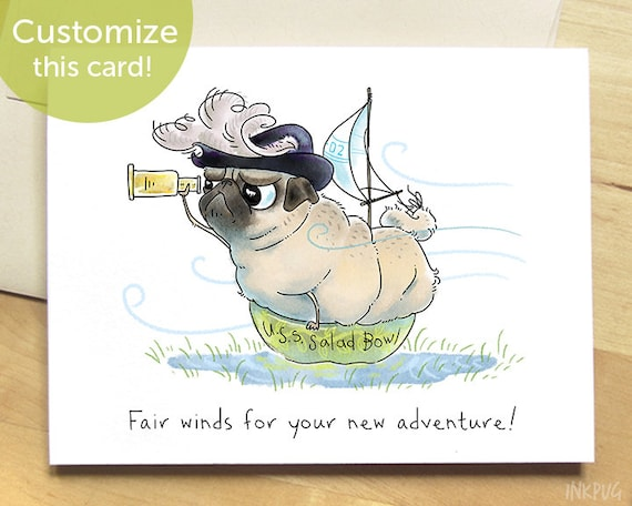 Good luck card funny cards new address card new adventure good luck card funny cards new address card new adventure card nautical birthday card pirate invitation funny pug art card by inkpug bookmarktalkfo Choice Image