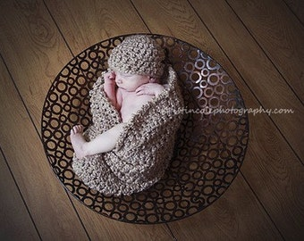 Beanie Hat and Cocoon Cozy Newborn Baby Photo Prop in Smoky Beige Photo shoot Set 2 pc Infants Girl Boy All Babies Photography Newborn