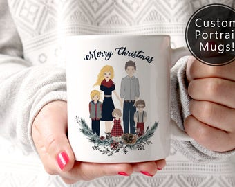 Christmas Gift Custom Mug, Family Portrait-  Merry, Mom, Dad, grandma, grandpa, sister, brother, Coffee, Decor, Wedding (8003)
