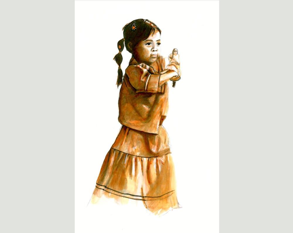 Kele Sparrow Native American Indian Child Southwestern Art