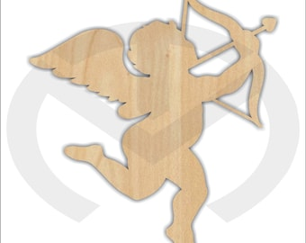 Unfinished Wood Cupid Laser Cutout, Wreath Accent, Door Hanger, Ready to Paint & Personalize, Various Sizes