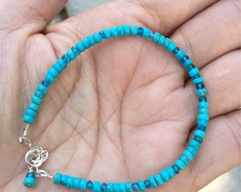 Turquoise  Bracelet  Nacorari Turquoise   Skinny Bracelet  Natures Splendour  Blue Bracelet   Apatite Bracelet  Beaded Bracelet