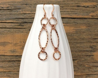 Rose gold earrings, hammered rose gold, handmade earrings