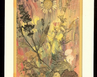 Sunny Day Collage on canvas print. botanic collage with blue salvia, daisies, coreopsis  as a collectible frameable giclee print art card.