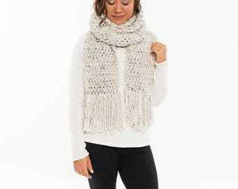 Vegan Extra Long Chunky Knit Wool Ribbed Open End Fringe Scarf / Cowl Cozy Neck Warmer, Women's Crocheted Handmade Winter Accessory