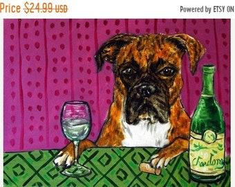 25% off Boxer at the Wine Bar Dog Art Print 13x19 JSCHMETZ modern abstract folk pop art AMERICAN ART gift