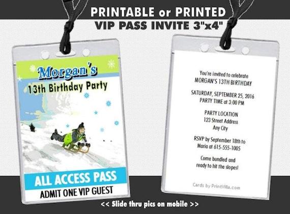 Snow Sledding VIP Pass Invitation Printable Child Birthday