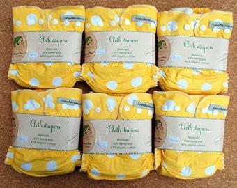 6pc Hemp organic cotton cloth diaper pack + merino wool cover / cloth nappy set / Handmade Lithuanian / organic cotton