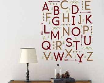 Woodland alphabet wall letter decals, Baby nursery wall decor, Alphabet letters for wall, Vinyl letter stickers, Arrow wall decal DB438