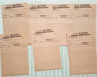 Vintage general merchandise blank hand written receipts, junk journal, scrapbook, paper ephemera, embellishments, Qty. 7 sets