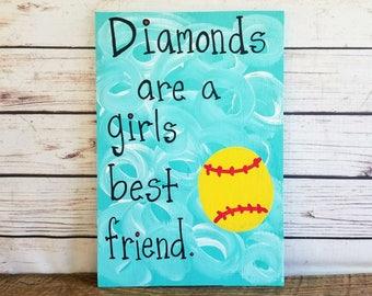 Softball Sign, Softball Player Gift, Christmas Gift, Softball Quote, Wall Decor, Sports Wall Art, Diamons are a girls best friend