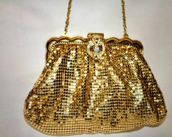 Vintage Art Deco Whiting and Davis Gold Metal Mesh Evening Bag Purse - 1930's