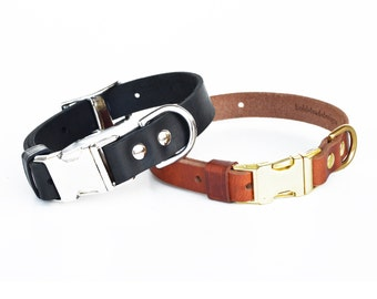 Adjustable Leather Quick-Release Dog Collar in TAN or BLACK