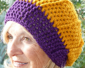 Handcrafted crochet hat created with a purple and gold team in mind, unique and original modified slouchy hat, women's winter team hat,