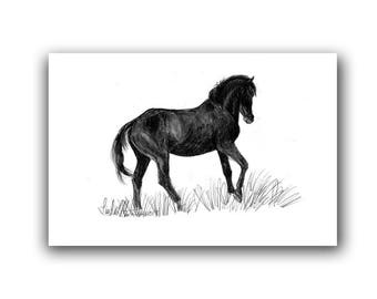 New Mom Pony Gifts Horse Nursery Art Print Equine Art Drawing  LLMartin Country Farm Artwork