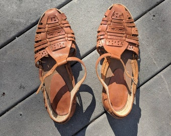 Vintage Brown Leather HUARACHE SANDALS, 7.5/8