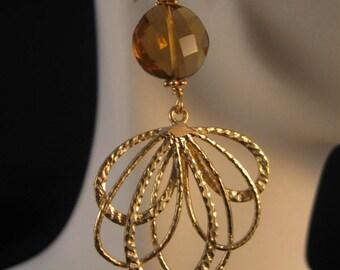 Gemstone Filigree Earrings, gemstone earrings, gold earrings, filigree earrings, drop earrings, dangle earrings, drop, dangle, earring