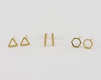 Stud Earrings, Tiny GOLD Stud Earrings / Minimal Gold Earrings/ Gold Earrings / Gold Cute Earrings