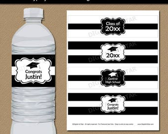 Graduation Party Decorations, Black and White Party Decorations, Graduation Water Bottle Stickers, Bottle Wraps, Graduation Party Ideas G1