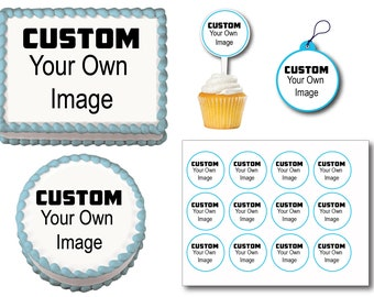 Custom Your Own Image Design Logo Drawing Edible Birthday Cake Toppers, Plastic cupcake Picks, Gift Tags or Stickers
