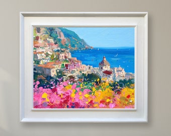 Positano Italy Painting Oil Painting Original Art Impressionist Painting Landscape Painting Canvas Painting Seascape Painting Gift for Women