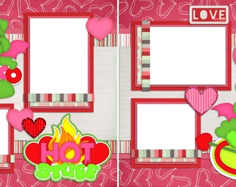 Hot Stuff - Digital Scrapbooking Valentine Quick Pages - INSTANT DOWNLOAD