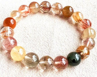 8-12mm A+  Genuine clear&Rainbow Rutilated Quartz Gemstone Bracelet,Round jewelry beads,8inch