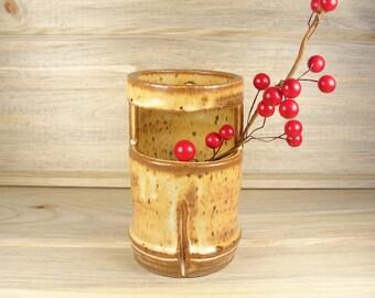 Bamboo Style Flower Vase, Ikebana Vase, Small Bud Vase, Hanaire, Japanese Vase, Pottery gifts.