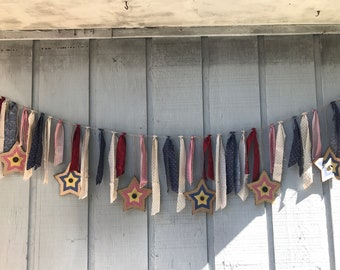 July red, white & blue fabric garland with stars