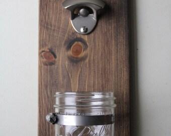 Mason jar bottle opener // Wall mounted bottle opener
