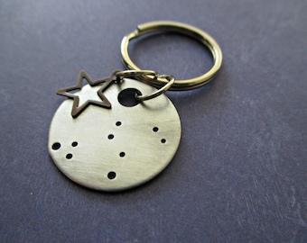 leo constellation - hand stamped zodiac keychain with bronze star charm