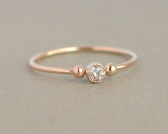 SOLID 14k gold ring. wedding ring. engagement ring. cz diamond. birthstone ring. ONE delicate stackable birthstone ring. mothers ring.