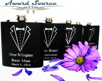 Groomsmen Gift, 14 Personalized Engraved Tuxedo Flasks, Wedding Party Gifts, Gifts for Groomsmen, Wedding Flask