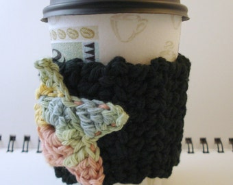 SALE - Black with Pastel Rainbow Star Crocheted Coffee Cozy (SWG-B04)