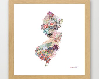 NEW JERSEY MAP, New Jersey painting, New Jersey art, colorful map, flowers composition, roses, Giclee Fine Art, Poster Print