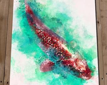Ghost Koi Art Print - Zen Art Decor - Fish Wall Art Watercolour Painting - Aquatic Art - Fishpond Home Decor - Gift Idea - Housewarming