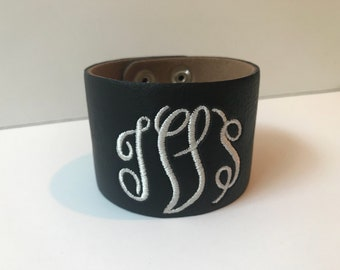 Monogrammed Leather-Like Cuff / Monogrammed Bracelet / Monogram Cuff / Personalized Bracelet