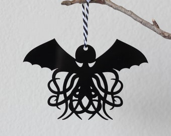 Cthulhu Ornament, Lovecraft Decor, Halloween Tree, Halloween Ornament, Halloween Gift, Horror Fan Gift, Gift for Reader, Laser Cut Ornament