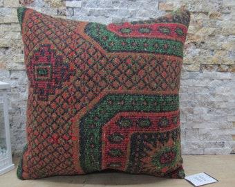 bohemian kilim pillow throw pillow tribal turkish kilim pillow ethnic pillow 20x20 handwoven kilim pillow krlim kissen code 426
