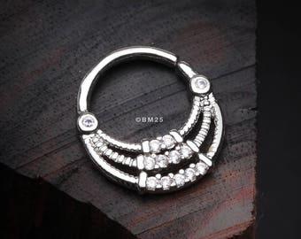 Tribal Sparkle Bib Septum Twist Loop Ring