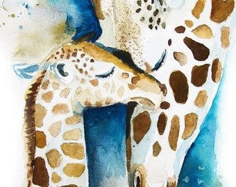 Giraffe Watercolor Painting, Animal Art Print, Giraffe Print, Baby Giraffe Painting, Watercolor Giraffe, Giraffe Art Print, Safari Nursery